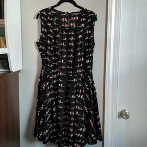 Modcloth Pretty Vacant black red bird print dress